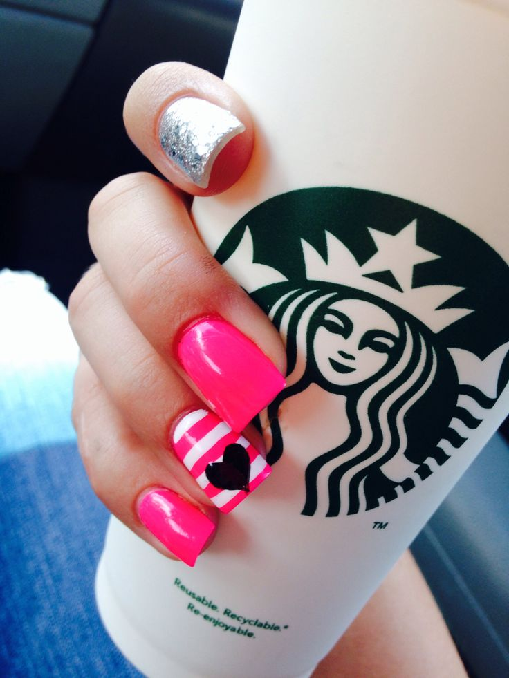 Hot pink nails with heart <3 From Ultra Nails.