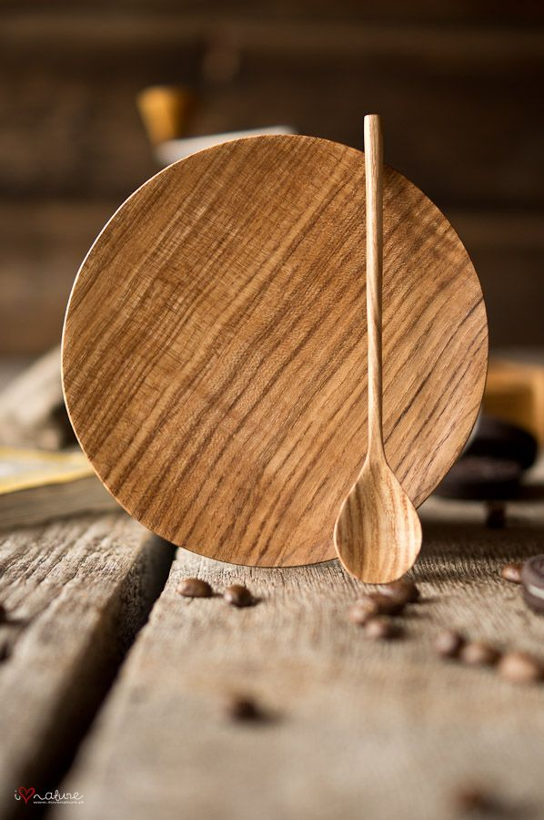 Hand crafted plate with spoon [Not often that a piece with long grain is scrap, but worth remembering if an edge is messed up. The spoon is a good complement to a fine plate].