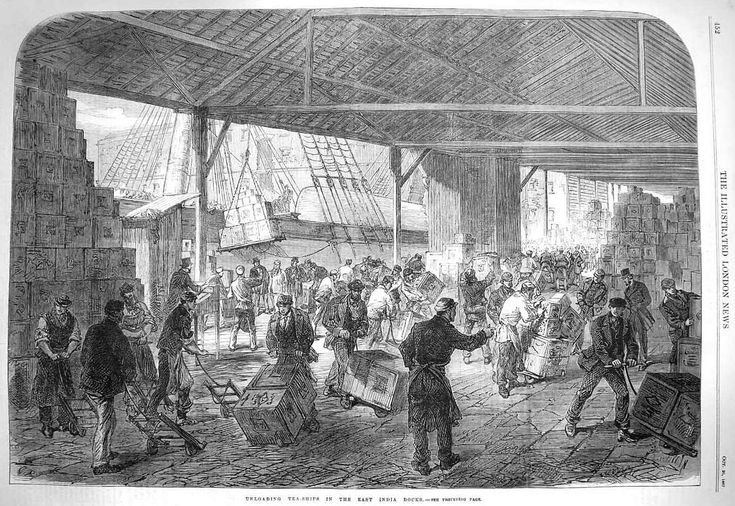 """Unloading tea-ships in the East India docks"" from the Illustrated London News, 1867."