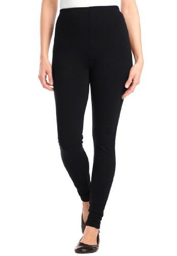 "Women's Plus Size Leggings in stretch knit (BLACK,2X). Size: 2X Plus. You can dress them up or down. Look great under all dresses and longer tunic tops. the stretch knit fabric gives them a fit that can bend or move in any direction comfortably inseam falls comfortably to the instep, fits women 5'4"" to 5'7"" classic fit sits slightly above the waist for comfy coverage curved rise provides a better fit full elastic waist moves as you do washable cotton/spandex knit is a soft,..."