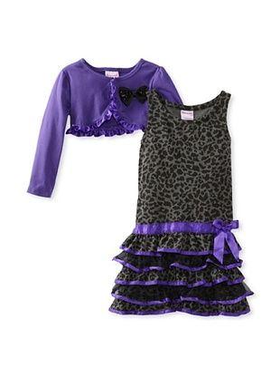 60% OFF Nannette Girl's 2-6X Shrug & Dress Set (Purple/Gray)