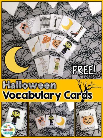 Free Halloween Vocabulary Cards by teachingtalking.com