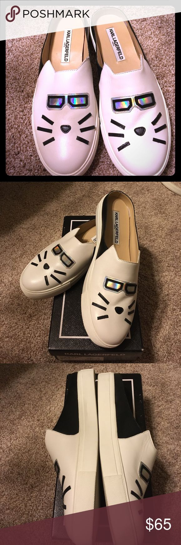 🐱NWOT Karl Lagerfeld leather slide sneakers CoolCat. White leather sneakers with black accents. Never worn outside Store where purchases Karl Lagerfeld Shoes Sneakers