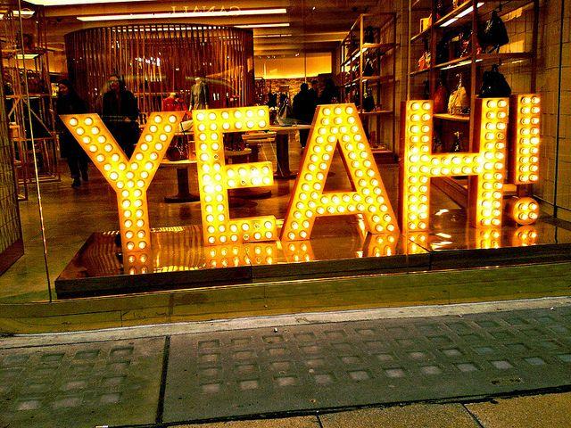 YEAH!    Shop display, New Bond Street, Mayfair, London