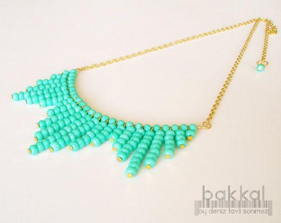 Collar verde, collar de perlas, verde, collar diaria, romántico collar, joyería femenina, joyería cotidiana, collar Simple, moderno