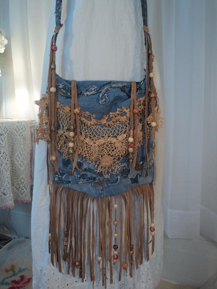 Handmade Denim CrossBody Bag Boho Hippie Purse Beaded Leather Fringe Lace tmyers #Handmade #MessengerCrossBody