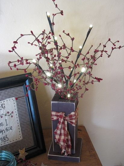 primitive country crafts   Burgundy Wood Box with Berries and Lights would be cute made from a 4x4 post