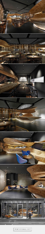 weijenberg weaves sculpted timber element around RAW restaurant in taipei - created via http://pinthemall.net