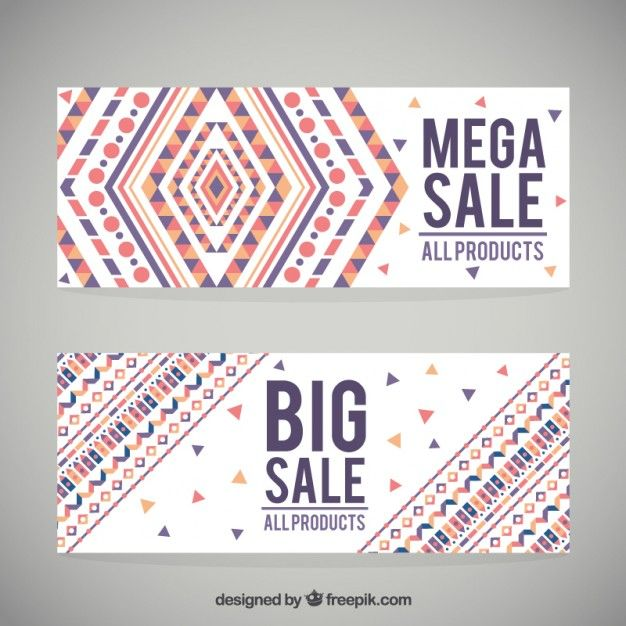 Geometric colored shapes sale banners Free Vector