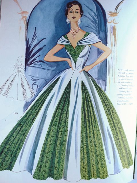 Modes Royale 1321. Green lace might not work today but imagine this in all black or all silver.