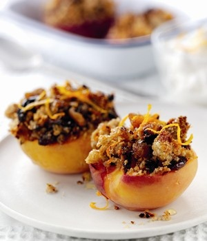 Baked Peaches with Honey Crumb Topping : Wholegrain Goodness : HGCA