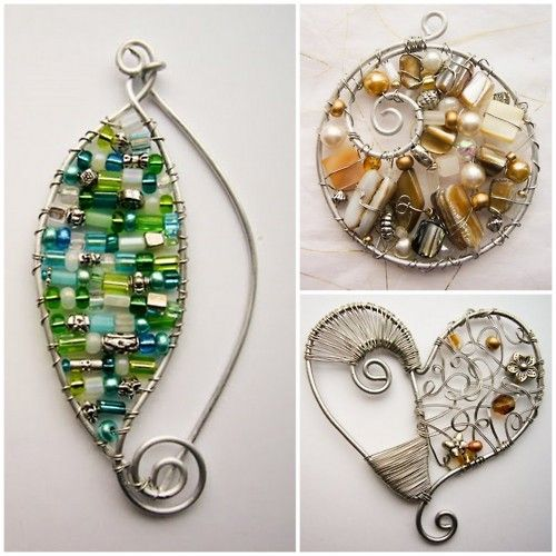 Bead-filled wire pendants  #handmade #jewelry #wire_wrapping #beading