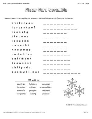 Winter word scramble with snowflakes. 4 levels of difficulty. Scrambled words change each time you visit
