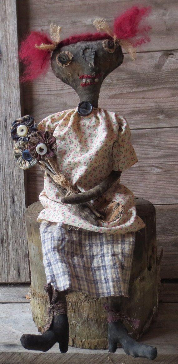 Extreme Primitive doll Rosie Posie OOAK by PeppercornPrimitives