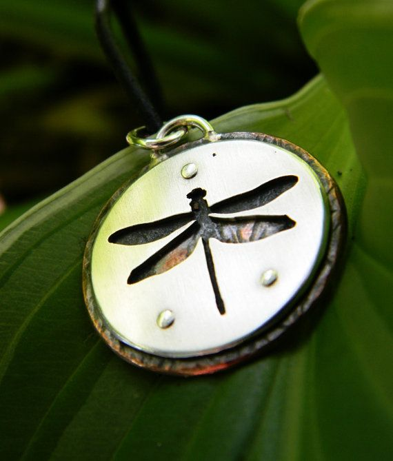Dragonfly pendant, Sterling silver and copper, nature, silhouette, hand made every day wear, rustic, wild,