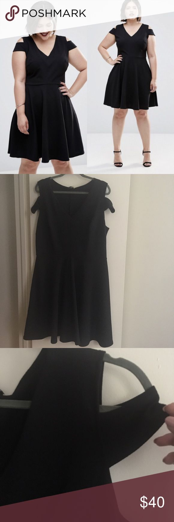 Plus Skater Dress with Cold Shoulder Brand new skater dress with cold shoulder detail. Nice stretchy material, easy day to night summer dress!  • smoke & pet free home • Club L Dresses Maxi