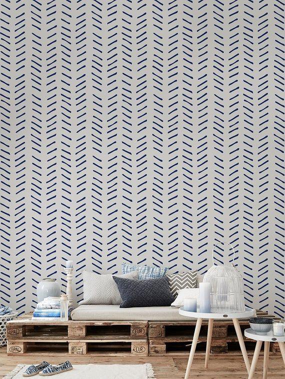 Navy Blue Chevron Wallpaper Peel And Stick Herringbone Etsy In 2021 Temporary Wallpaper Herringbone Wallpaper Blue And White Wallpaper