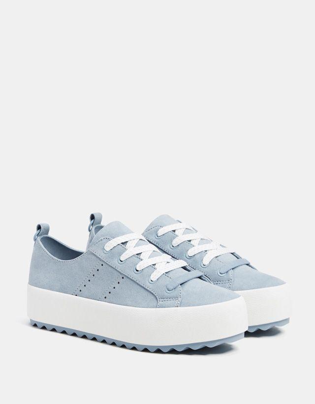 Blue platform sneakers - Bershka