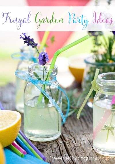 Frugal #GardenParty Ideas - Throw a chic garden party on a budget with wine bottle vases, Mason jar drink ware, and more.