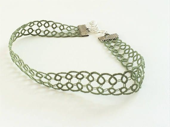 Green Lace Choker Green Necklace Lace Necklace Green