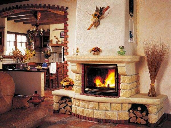 Fireplace in a modern interior - камин фото