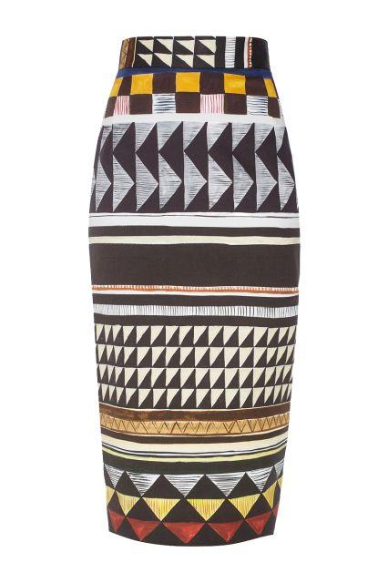 Хлопковая юбка Sembrare Stella Jean - Облегающая юбка-миди от итальянского…