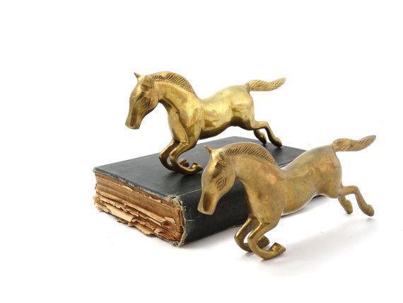 Horse figurine  Brass horse  Horse bookend  by VintageLittleGems