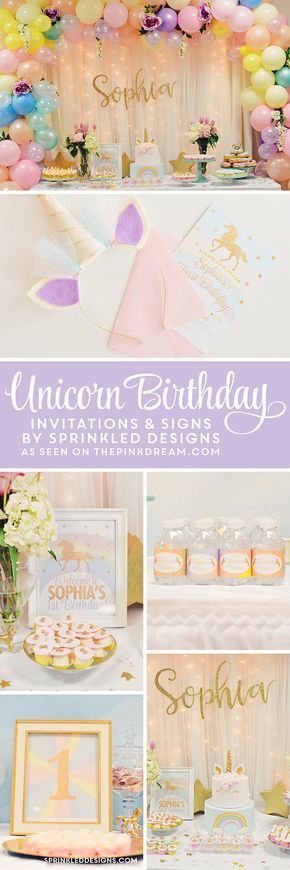 Unicorn Birthday Invitation, Unicorn Invitation, Unicorn Party Invitation, Magical Unicorn Party, Rainbow Unicorn Invitation, Unicorn Invite - SprinkledDesigns.com