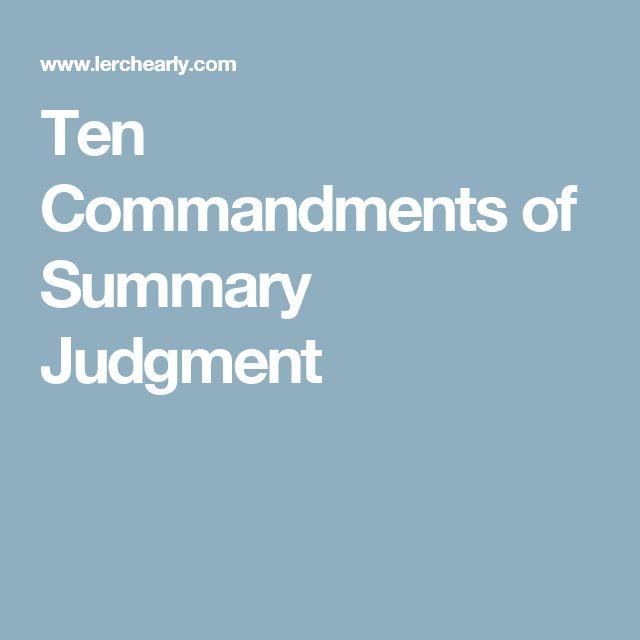 Ten Commandments Of Summary Judgment  Paralegal Resources