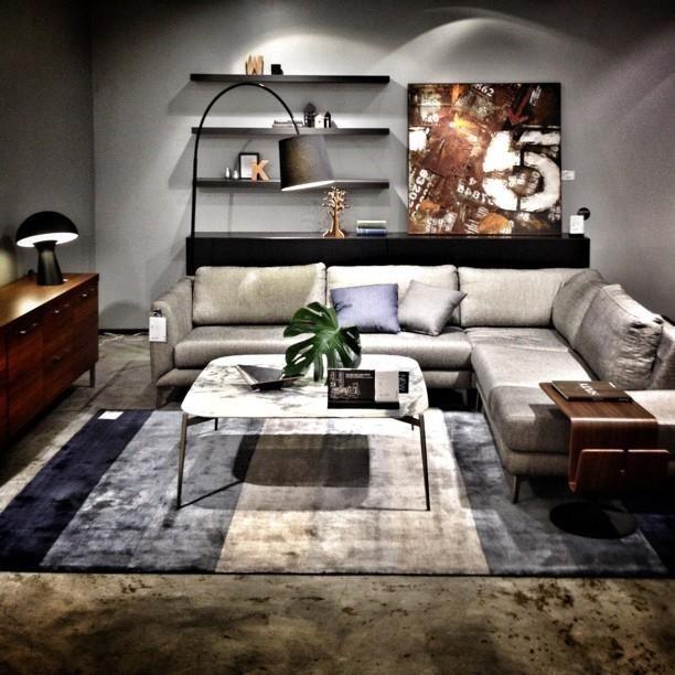 BoConcept Fargo Sofa With Marble Coffee Table Bari