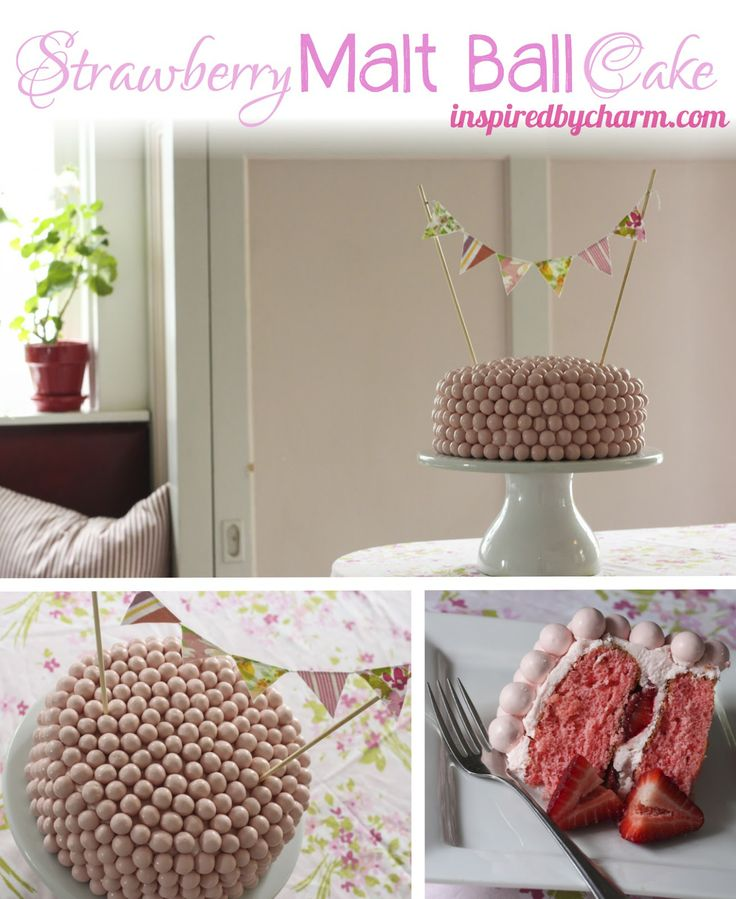 Strawberry Malt Ball Cake with White Chocolate Cream Cheese Frosting and Vintage Sheet Mini Bunting via Inspired by Charm