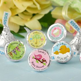 Celebrate new baby kisses by giving unique personalized Hershey kisses to your guests as baby shower favors. Sprinkle these classic American treats on tables to add sparkle to your occasion or arrange kisses in unique vases or bowls and use as centerpieces or pack several in a box or organza bag for a sweet baby shower favor treat.However you choose to spread these little favors make sure you have enough after all one kiss is NEVER enough! Suggested quantity per guest is 5 to 10…