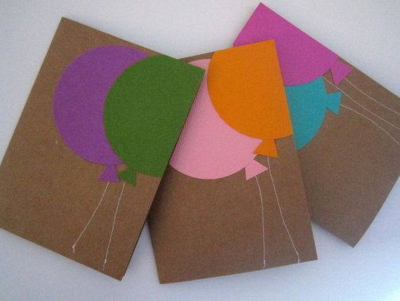 Birthday Cards Balloons Set of 6 Balloon Stationery by Ferrever, $12.00