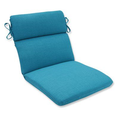 Pillow Perfect Rave Solid Rounded Corners Double Hinged Outdoor/Indoor Chair Cushion Peacock - 600833