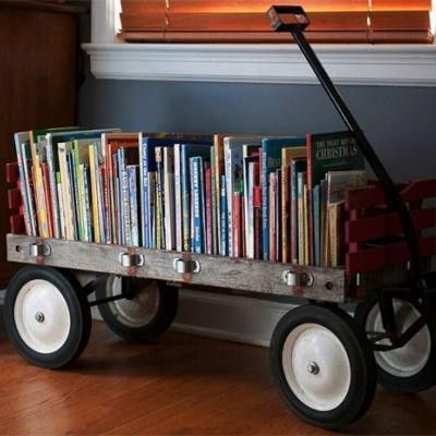 """How cute is this!  Wouldn't it be fun to have all your """"theme"""" books displayed like this?  And it's portable!"""