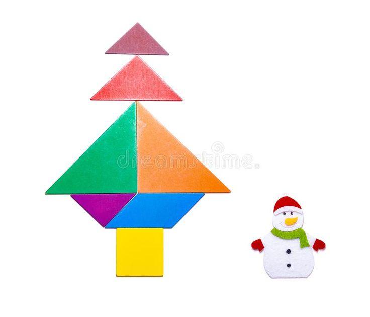 Christmas Tree Tangram: Tangram Blocks Shape As Christmas Tree With Snowman. On