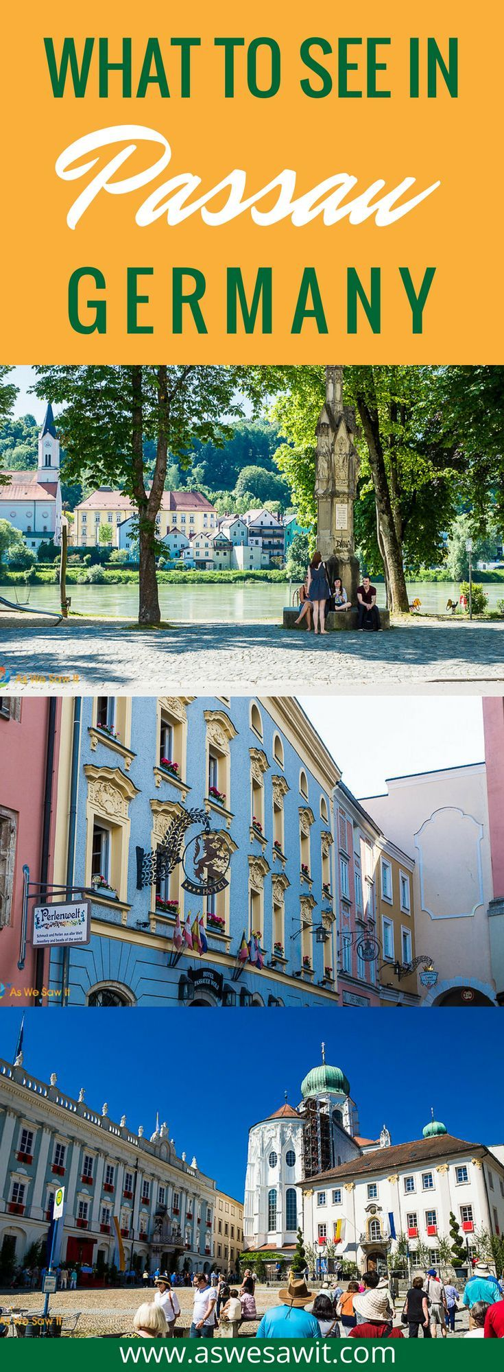 Passau, Germany is a picturesque town that has been shaped by its location, at the confluence of three rivers: the blue Danube, the green Inn and the black Ilz. Click through to find out what to see in Passau, Germany. | As We Saw It #germany #rivercruise #europe #passau