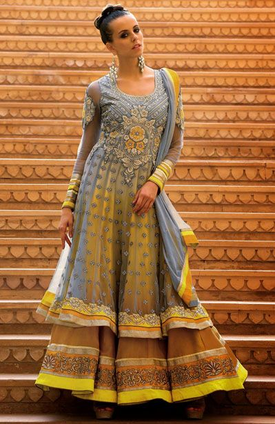 USD 138.47 Grey and Yellow Net Layered Anarkali Suit   34937