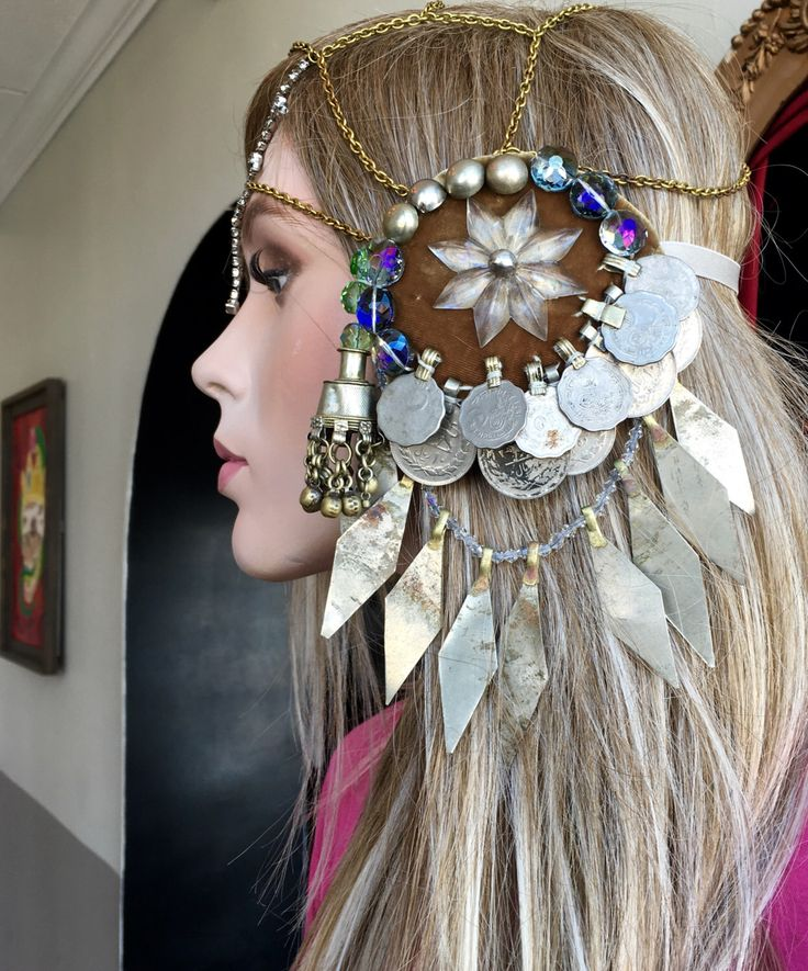 Tribal bellydance burning man headdress with assuit  for fusion or cosplay. High shelf booze. by BenneGezerittWitch on Etsy https://www.etsy.com/listing/273766162/tribal-bellydance-burning-man-headdress