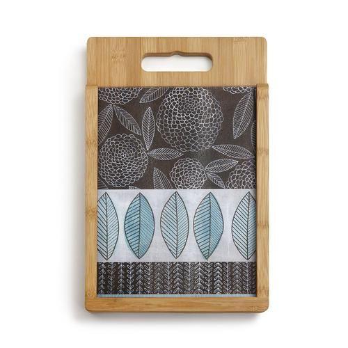 Blue Zinnia (Symbol of Friendship) Glass Chopping Board Set