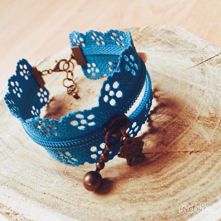 Bracelet fermeture eclair dentelle bleu : Bracelet par passion-biijoux