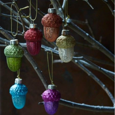 Set Of 6 Coloured Gl Acorns View All Christmas Graham And Greene Uk