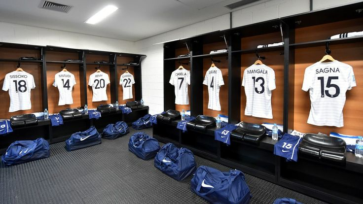 The shirts worn by France players hang in the dressing room