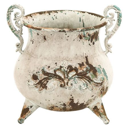 Add a whimsical touch to your entryway console or side table with this charming metal vase, showcasing scrolling handles and a kettle-inspired silhouette.  ...