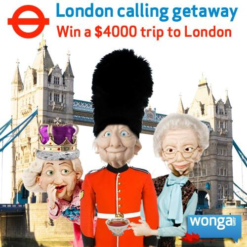 Win a $4000 trip to London that includes round trip airfare for two, a 7 night hotel stay, transfers and $500 spending money! Enter now: https://www.facebook.com/wongacanada/app_169792383183662  #winwithwonga