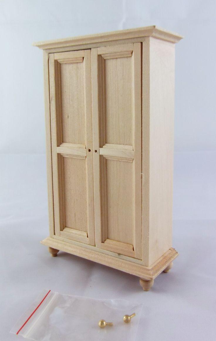 Dolls House Miniature 1:12 Unfinished Bedroom Furniture Natural Wood  Wardrobe
