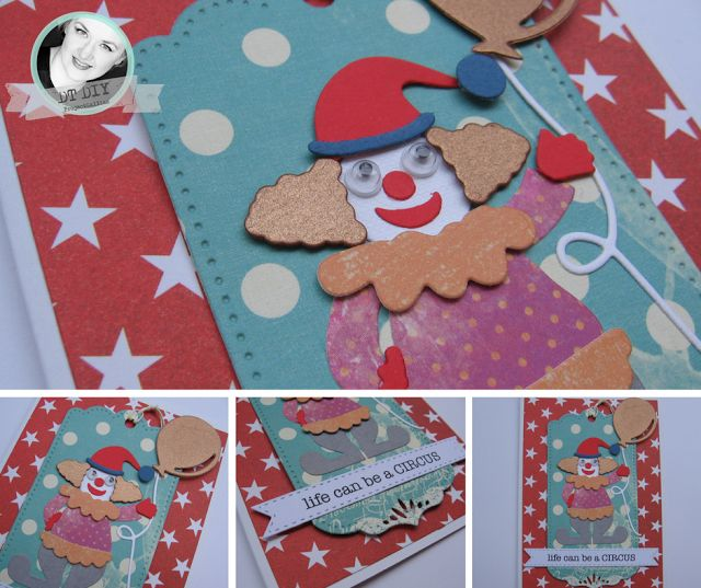 ProjectGallias:#projectgallias, kartka z klaunem, inspiracja do wyzwania DIY, Handmade card with clouwn!
