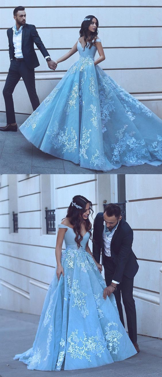 5cd310fb73ed Light Blue Tulle Ball Gowns Prom Dresses Lace Appliques Off Shoulder ...