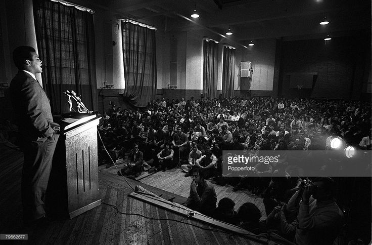Sport, Boxing, New York, USA, 24th March 1971, Former Heavyweight Champion of the World, Muhammad Ali, delivers a lecture to the students at St John's University in Brooklyn