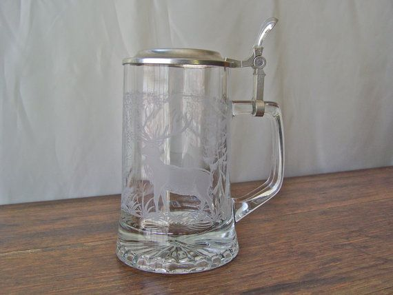 Vintage Beer Stein verre bière Mug Elk Image par CynthiasAttic